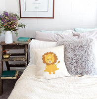 The Cotton & Canvas Co. Lion Home Decor Pillow Cover, Pillowcase, Cushion Cover and Decorative Throw Pillow Cover for Nursery and Kid's Room (Natural Color, Not White)