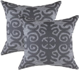 TreeWool Decorative Square Throw Pillowcases Set Fleur Accent 100% Cotton Cushion Cases Pillow Covers (20 x 20 Inches / 50 x 50 cm, Graphite Grey & White) - Pack of 2
