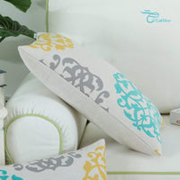 CaliTime Canvas Bolster Pillow Cover Case for Couch Sofa Home Decoration Three-Tone Floral Compass Geometric 12 X 20 Inches Turquoise/Yellow/Gray