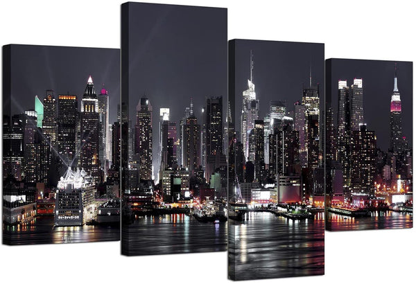 Wallfillers Canvas Pictures of New York Skyline for Your Living Room - NYC Cityscape Prints - Modern Split Set of 4 City Canvases - Multi Panel - XL - 130cm Wide
