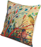 Ammmybeddings Cotton Linen Square Decorative Throw Pillow Case Cushion Cover with The Illustion of Vivid Birds & Blooming Trees in Spring 18x18 Inch,No Filler