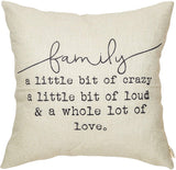 "Fjfz Family a Little Bit of Crazy a Little Bit of Loud and a Whole lot of Love Rustic Decoration Farmhouse Décor Cotton Linen Home Decorative Throw Pillow Case Cushion Cover for Sofa Couch, 18"" x 18"""