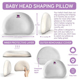 ModTickles Baby Pillow for Head Shaping - Prevent Flat Head Syndrome - Head Support for Infants & Newborns - Memory Foam Baby Pillow - Keep Head Round & Avoid Flat Spots - Prevent Plagiocephaly