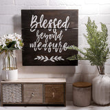 TERESA'S COLLECTIONS Blessed Beyond Measure Sign 12x12 inches Rustic Wood Sign, Home Wall Decor Signs with Inspirational Sayings - Wall Hanging Art