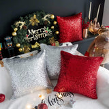 Kevin Textile Decorative Glitzy Sequin & Comfy Satin Solid Christmas Throw Pillow Cover Sham 18 Inch Square Pillow Case, Hidden Zipper Design, (2 Packs,Silver)