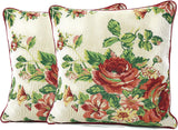 Tache Sweet Roses Spring Summer Traditional Country Vintage White Red Floral Decorative Woven Tapestry Cushion Throw Pillow Cover, 16 x 16, 2 Pieces