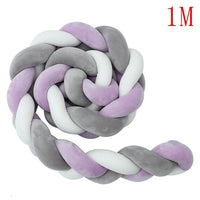 1M/2M/3M Mixed Colours Baby Bumper Braided Crib Pillow Knot Cushion Bolster Pillow Kids Bumpers in the Crib Pillow Nursery Decor
