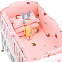 Kidlove 5pcs Crib Bedding Set Cotton Toddler Baby Bed Linens Include Baby Cot Bumpers Sheets