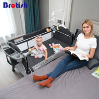 Brotish Crib splicing large bed removable bb multi-function portable folding newborn baby bedside bed cradle bed