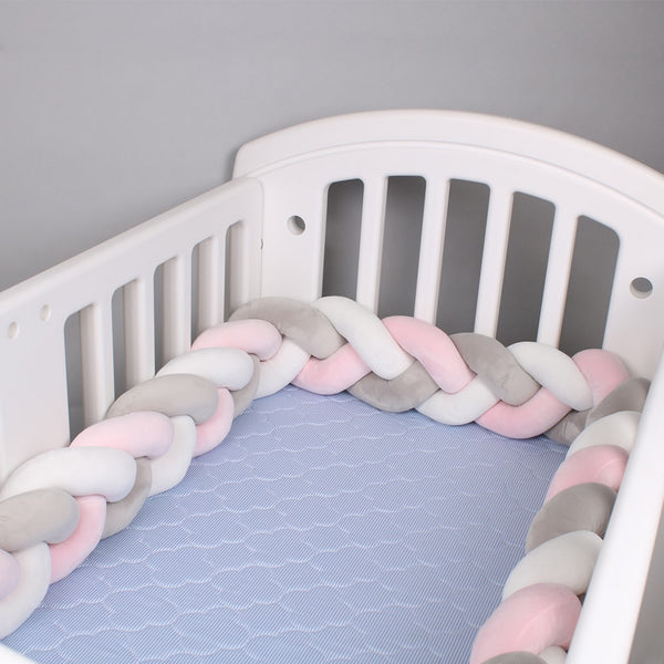 2M/3M/4M Newborn Baby Bed Bumper Infant Crib Protector Weaving Knot Plush Baby Crib Bumper Protector Infant Pillow Room Decor