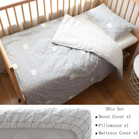 3Pcs Baby Bedding Set For Newborns Star Pattern Kid Bed Linen For Boy Pure Cotton Woven Crib Bedding Duvet Cover Pillocase Sheet