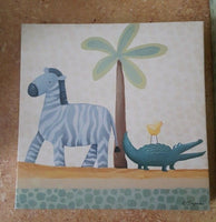 2 Sapna Canvas Wall Art Monkey Zebra Alligator Painting Child's Room