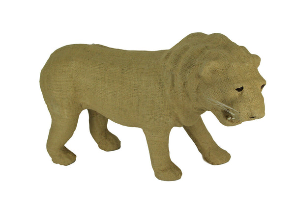 Rustic Burlap Wrapped Paper Mache Lion Sculpture