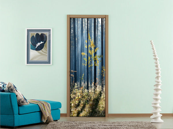 3D Blue Misted Forest Living Room Door Murals Wall Sticker Photo Home Decor