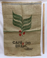 Coffee Bean Bag Burlap Gunny Sack Cafe Do Brasil Green Leaf Jute 36x27 Craft