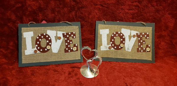LOVE Silver-Plated Entwined Hearts plus 2 Love Signs Crafty Look on Burlap