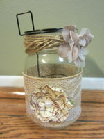 NEW MASON JAR RUSTIC DECOR CANDLE HOLDER BURLAP LACE PEARLS STORAGE WEDDING HOME
