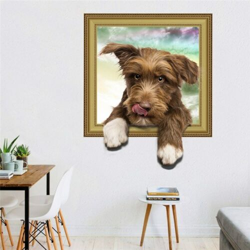 3D False Window Dog Wallpaper Hole View Vivid Living Room Home Decor Wall Decals