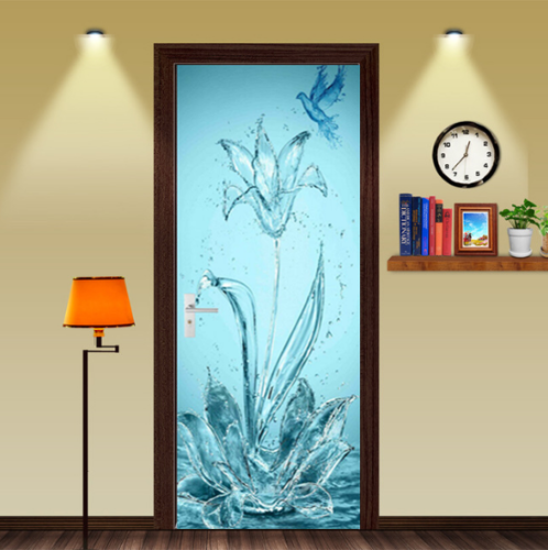 3D Flower Bird Self-adhesive Living Room Door Murals Stickers Photo Home Decor