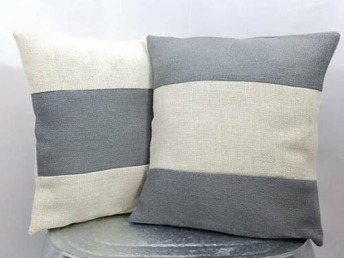 Rustic country gray and off white striped burlap pillow cover - NEW!