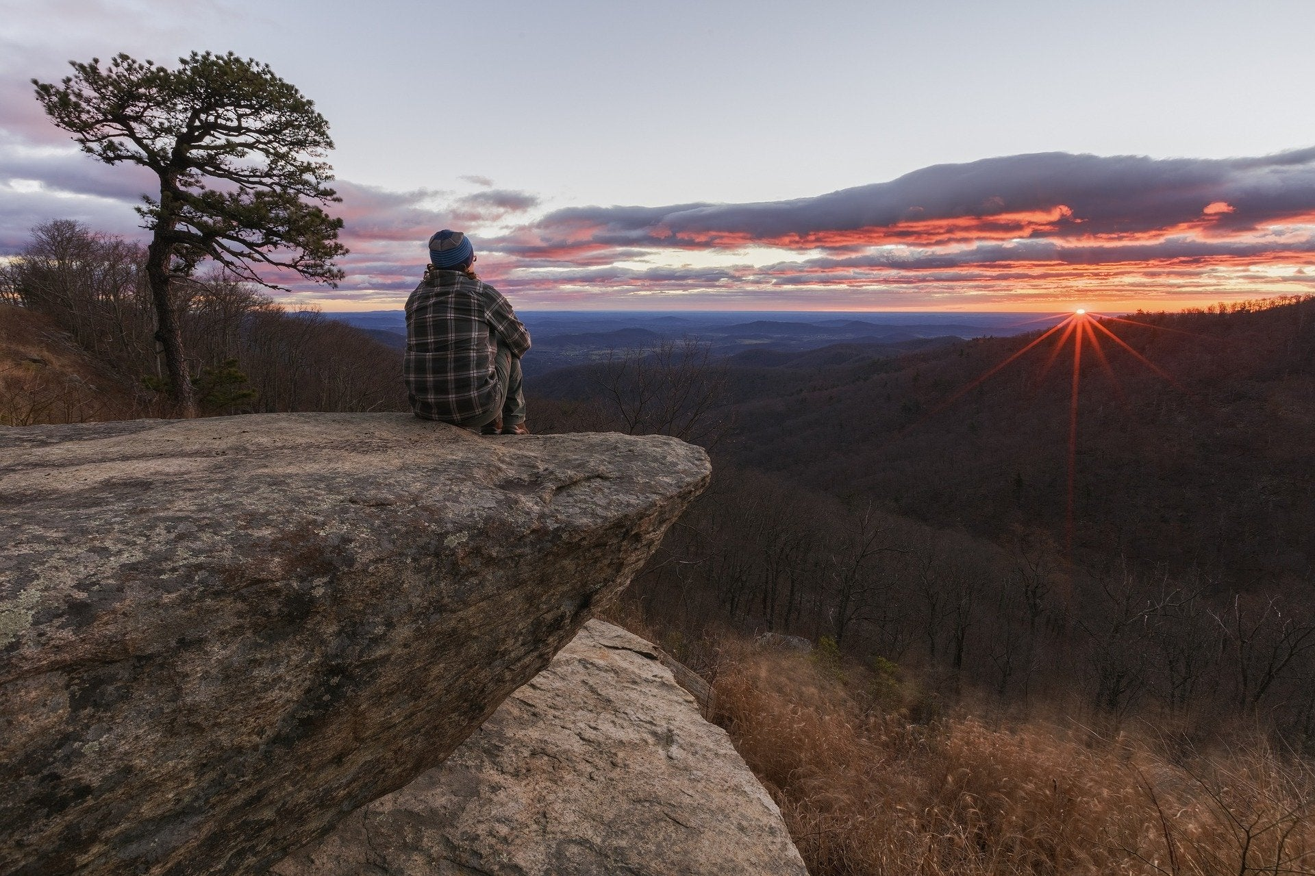 man staring looking at sunset in Virginia