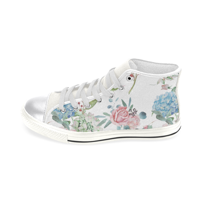 Classic Floral Shoes, Watercolor Floral Women's Classic High Top Canvas Shoes