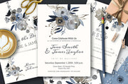 Grey Floral Wedding Template, Printable Modern Wedding Invitation Set, Instant Download, Templett 21