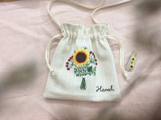 Personalized Hand Embroidered Drawstring Bag, Custom Name Drawstring Bag