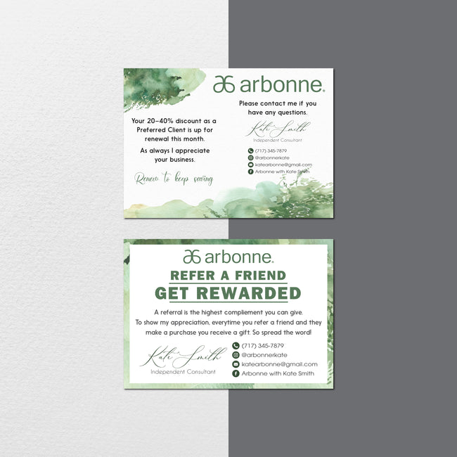 Watercolor Personalized Arbonne Cards, Arbonne Marketing Bundle, AB138