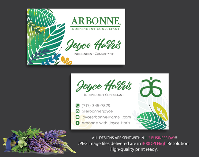 Arbonne Business Cards, Personalized Arbonne Cards AB15
