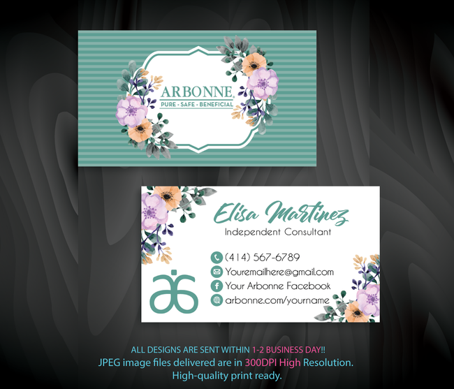 Arbonne Business Cards, Personalized Arbonne Cards AB93