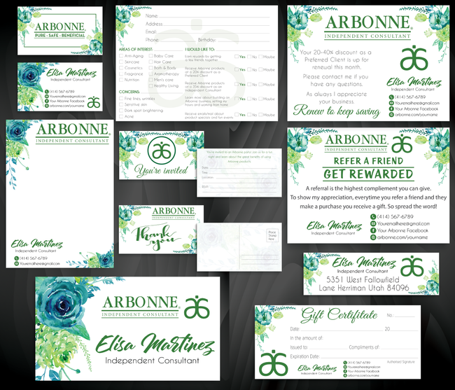 Arbonne Marketing Bundle, Personalized Arbonne Cards AB84