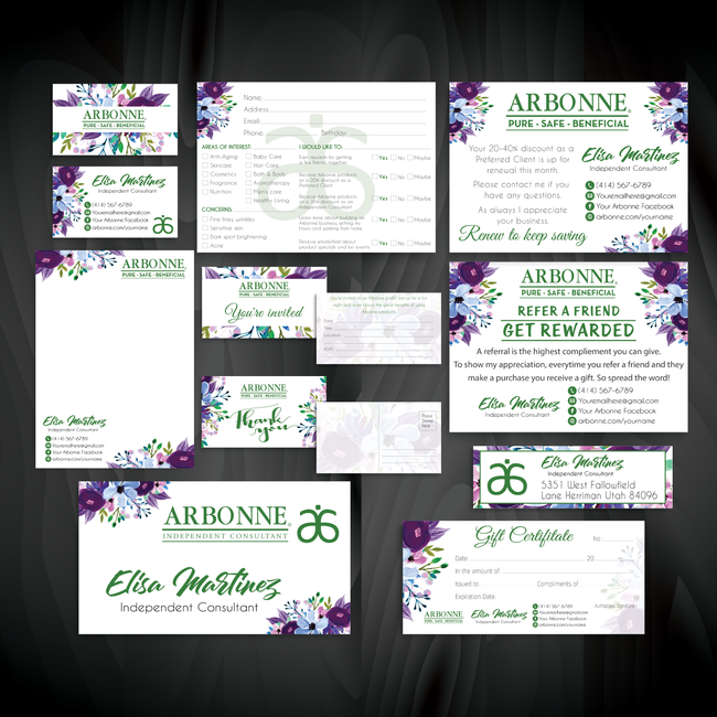 Arbonne Marketing Bundle, Personalized Arbonne Cards AB83
