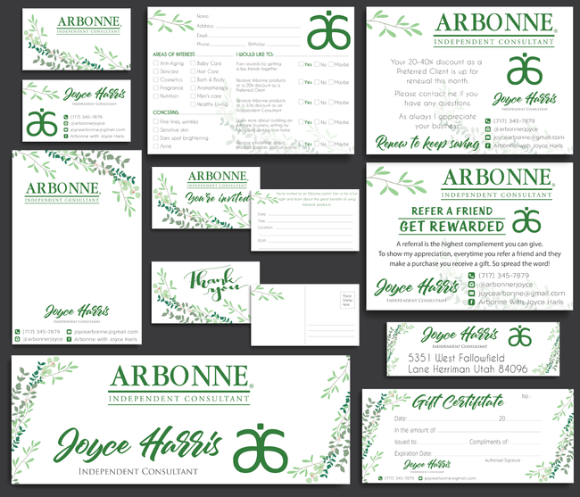 Arbonne Marketing Bundle, Personalized Arbonne Cards AB17