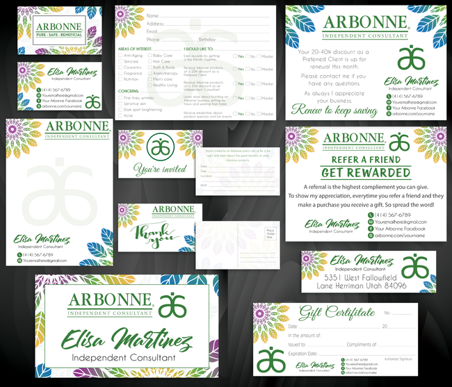 Arbonne Marketing Bundle, Personalized Arbonne Cards AB85