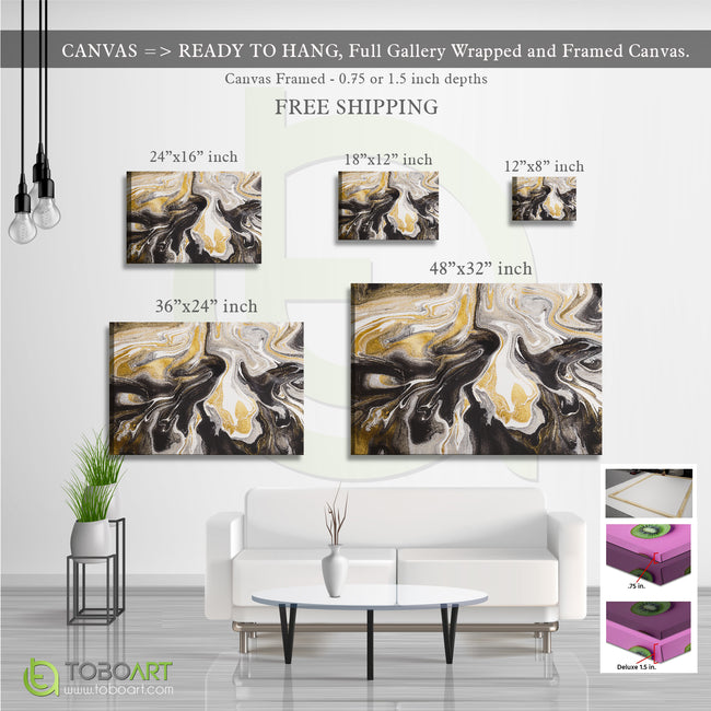 Abstract Stains Art, Modern Wall Decor CV05 Landscape Canvas .75in Frame