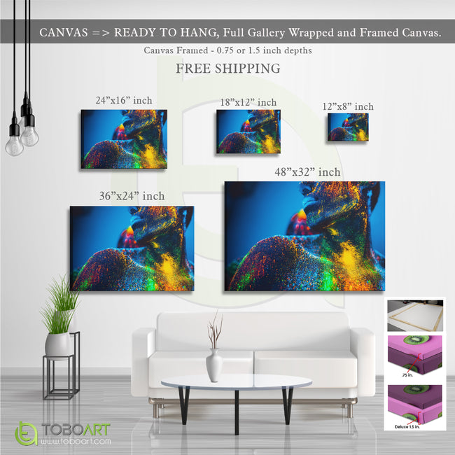 Painted Body Art, Colorful Canvas Wall Art CV32 Landscape Canvas .75in Frame