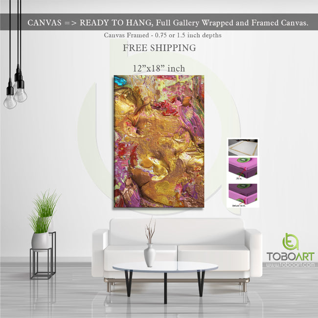 Gold Colorful Art, Gold Colorful Canvas CV15