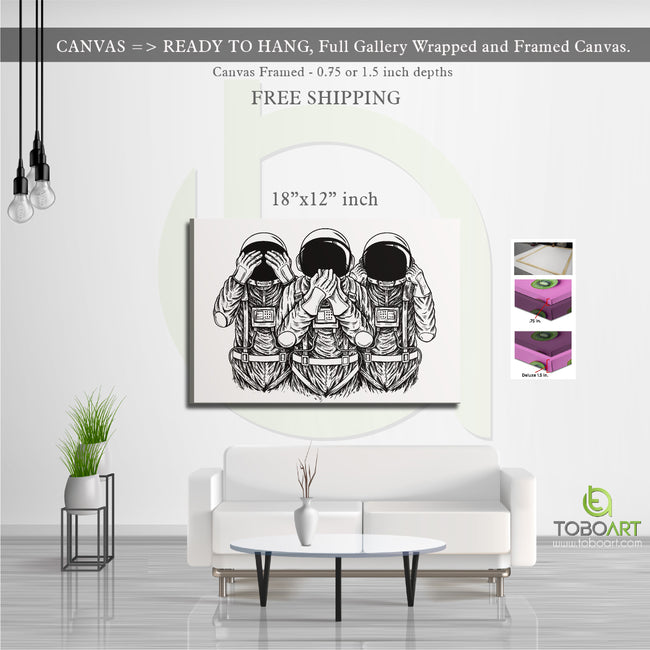 Astronaut Showing Symbol Three Wise Monkeys CV06 Landscape Canvas .75in Frame