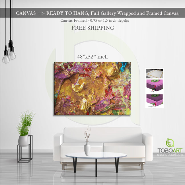 Gold Coloful Art, Paiting Wall Art CV15 Landscape Canvas .75in Frame