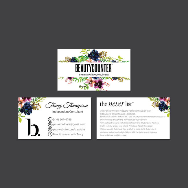 BeautyCounter Business Cards, Personalized BeautyCounter Cards BC04