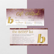 Glitter BeautyCounter Gift Cards, Personalized BeautyCounter Gift Certificate BC110