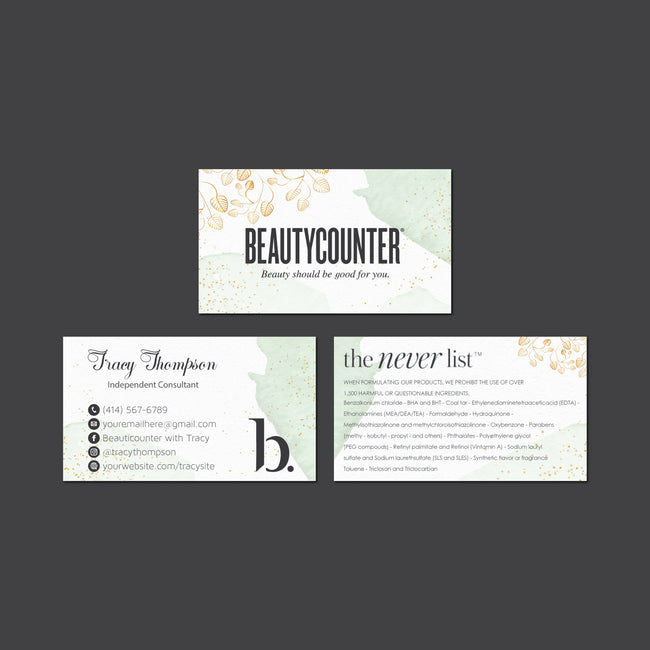 Watercolor BeautyCounter Business Cards, Personalized BeautyCounter Cards BC40