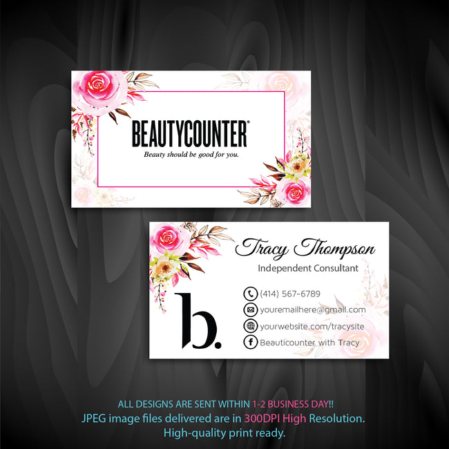 BeautyCounter Business Cards, Personalized BeautyCounter Cards BC07