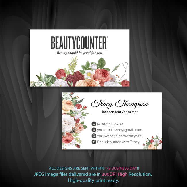BeautyCounter Business Cards, Personalized BeautyCounter Cards BC28