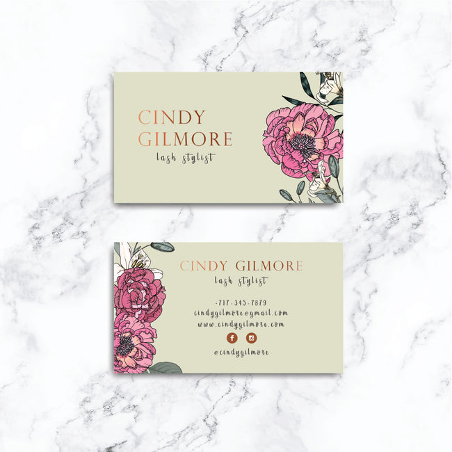 Floral business card, printable business card, flowers business cards, beauty salon, spa lash stylist BC03