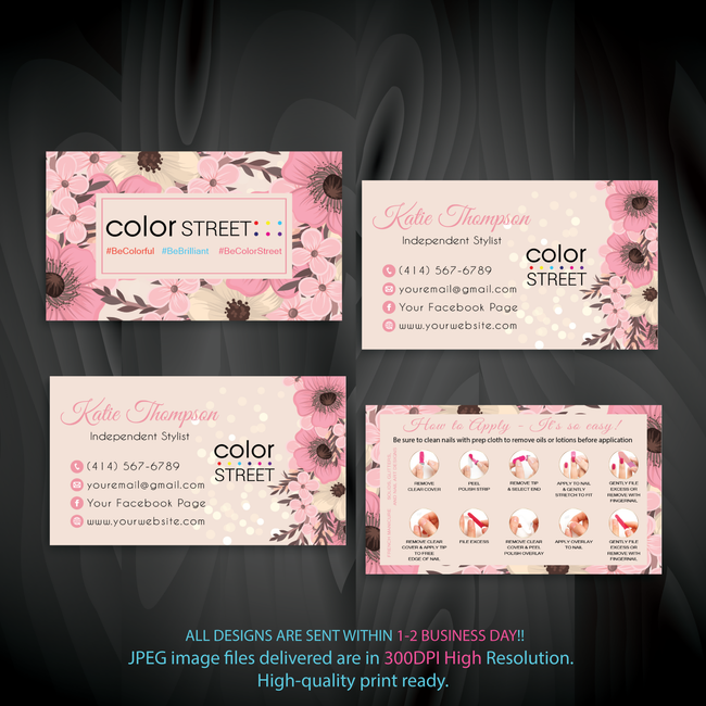 PERSONALIZED COLOR STREET BUSINESS CARDS, COLOR STREET APPLICATION CARDS, CL157 - ToboArt