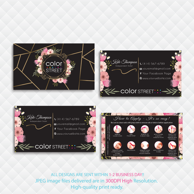 PERSONALIZED COLOR STREET BUSINESS CARDS, COLOR STREET APPLICATION CARDS, CL146 - ToboArt
