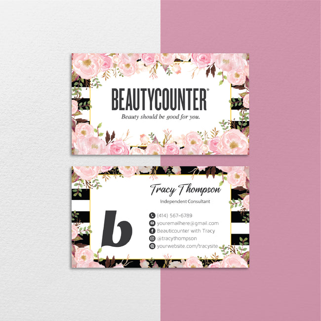 Floral BeautyCounter Business Cards, Personalized BeautyCounter Cards BC103