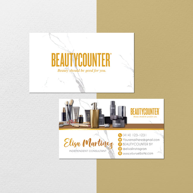 Marble BeautyCounter Business Cards, Personalized BeautyCounter Cards BC101